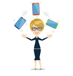 portrait of a smiling woman holding smartphone vector image