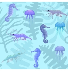 seamless pattern with sea animals and plants vector image