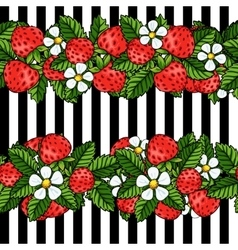 Seamless strawberry pattern on white background vector image