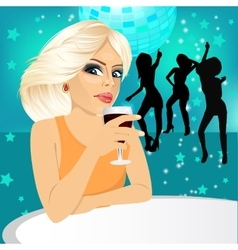 blonde woman drinking wine vector image vector image