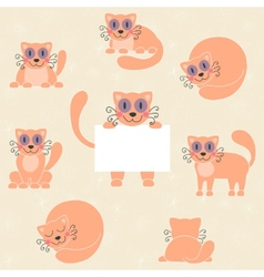 Cute red kitten set funny cat with sign vector image vector image