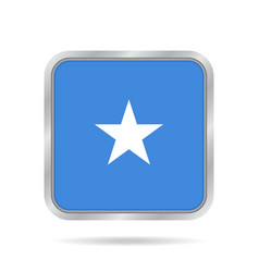 flag of somalia shiny metallic gray square button vector image