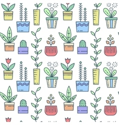 Line house plants pattern vector image vector image