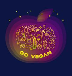 line style vegetable inscription go vegan vector image vector image