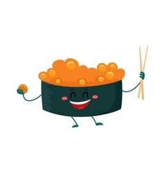 Nori seaweed sushi with caviar character holding vector image vector image