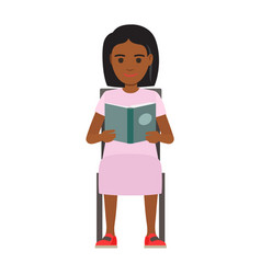 woman seating with open book flat vector image