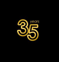 35 years anniversary elegant gold celebration vector