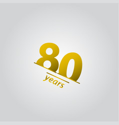 80 years anniversary celebration gold line vector