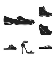 A variety of shoes black icons in set collection vector