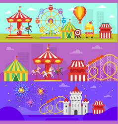 Amusement park for kids banners vector