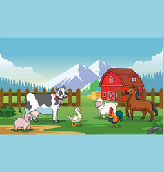 animals farm with cartoon style vector image