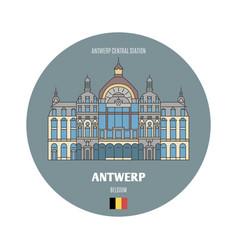 Antwerp central station belgium vector