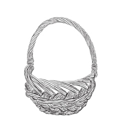 Basket sketch isolated on white background vector