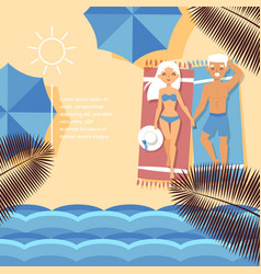 Beach shore tropical ocean waterfront character vector
