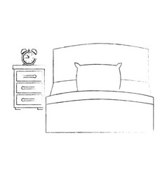 bed with drawer and alarm clock vector image