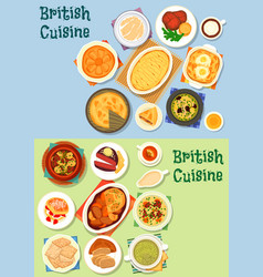 British cuisine traditional meat dishes icon set vector