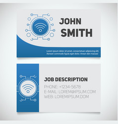 Business card print template with wifi spot logo vector