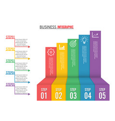 business growth 5 step infographics option vector image