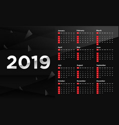 calendar design 2019 black background vector image