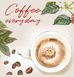 Cappuccino coffee arabica beans with branch vector
