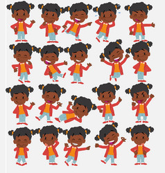 Cartoon character black girl set with different vector