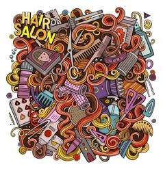 Cartoon doodles Hair salon vector image
