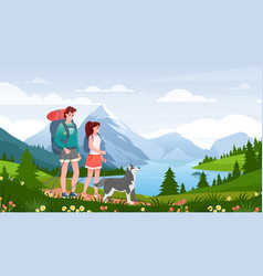 cartoon flat happy traveler woman man couple and vector image