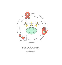 charity and donation out line design concept vector image