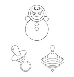 Children s toy outline icons in set collection for vector