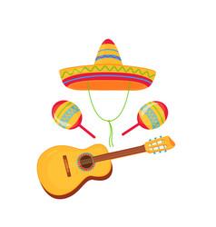 Cinco de mayo 5th may sombrero maracas and vector