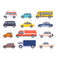 city transport cars urban car and vehicles taxi vector image
