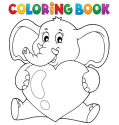 Coloring book elephant holding heart vector