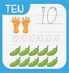 Count math number ten worksheet vector