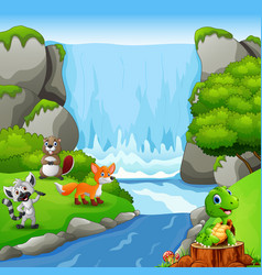 Cute animals with waterfall landscape background vector