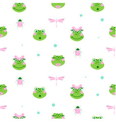 Cute frogs and dragonfly seamless pattern vector