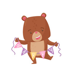 cute humanized bear holding bunting flags with vector image