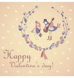 Cute pair of birds celebrating Valentines Day vector image