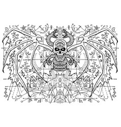 Design with winged demon skull and snake vector