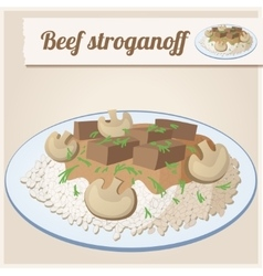 Detailed icon beef stroganoff vector