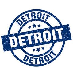 Detroit blue round grunge stamp vector