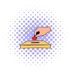 Donation box and red heart icon in comics style vector image