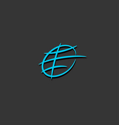 earth globe line logo vector image