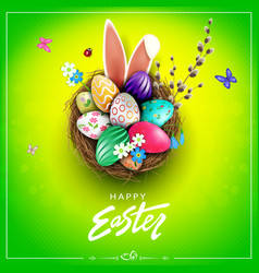 Easter green design with nest patterned eggs vector