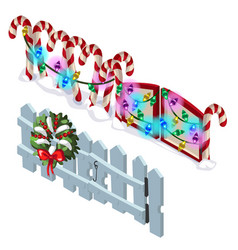 element wooden fence and candy cane vector image