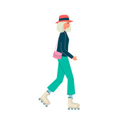 fashion casual dressed woman walking character vector image
