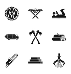 Firewood icons set simple style vector