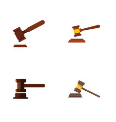 Flat icon court set of court hammer justice and vector