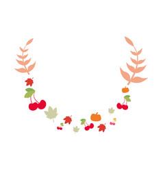 floral leaves branch cherries pumpkin vector image