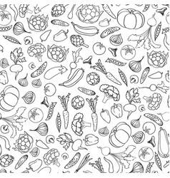 Food ingredient seamless doodle line pattern vector