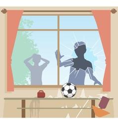 Football breaks window vector